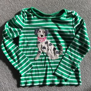 Mini Boden Green Dog Long Sleeve Shirt Size 3-4Y